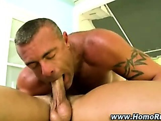Homosexual sucks straight pecker