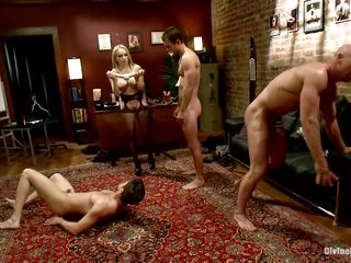Divine bitches Aiden and Madelin are having a great time making their lads fuck every other. At their strict orders one of the dudes kneels and gives some other one head and then they kneel like tractable sluts. Aiden and her friend prepares a double ended marital-device and put 'em to fuck butt to ass.