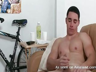 This hot homosexual chap just finished taking a hot shower. This chap is wiping his strong worked out body with a fluffy towel in the bathroom. Out of even realizing it, the lascivious stud begins masturbating in his room and his rod becomes larger and harder. This chap just keep rubbing it and the cum will in a short time explode!