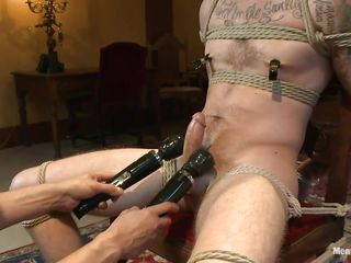 Chris is a hawt stud with a very gorgeous face. The only problem with him is that he's very very hard to please. It takes for 2 skilled executors to makes this cute homosexual happy and as one rubs his wang the other one puts clamps on his nipples. Now that this stud is all warmed up they rub his wet strapon with 2 large marital-aids