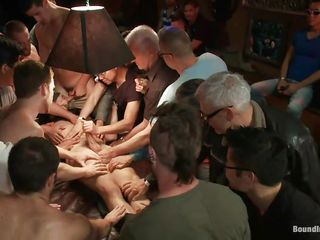 The guys gathered around this fellow and blindfolded him, cut his garments with a pair of scissor and now they crave to make their ways with him. All those hands are keeping him down and his knob is being sucked and rubbed, his hawt hips are spread and his nipps pinched. Looks like he's about to have a hardcore fuck