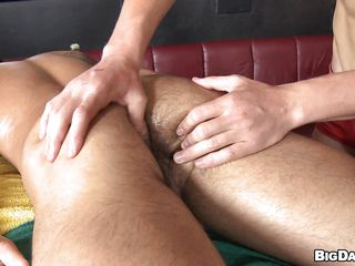 Hot guy James was laying down undressed enjoying an oily massage from his boyfriend. Seeing that nice-looking butt and brawny body of James the guy started to be lascivious and when James turned on his back the sight of his hard shlong was the last drop! The lascivious masseur began engulfing his shlong with lust wishing for his cum!