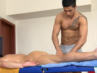 Hawt hunk acquires his taut anal canal explored by masseur