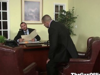 Uniformed homo office hunk pounding booty