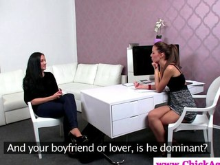 Lezdom agent watches her legal age teenager client masturbate