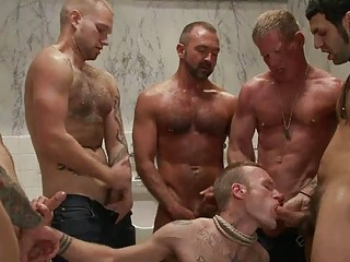 Attractive tattoed homo hunk got bondaged and gang team-fucked