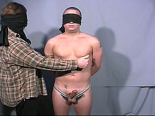 Blindfolded homosexual chaps go at every others large jock