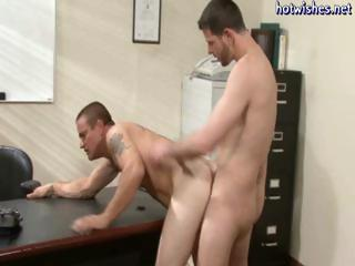 Hunky office males turn out to be twinks and they a-hole fuck each other