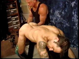 Dom Derek Da Silva grabs his slaves balls and ties 'em up taut