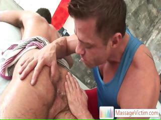 Bear getting his shaggy body massaged