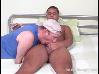 Hot Latino homo gets his shlong sucked by a homo bear on the sofa