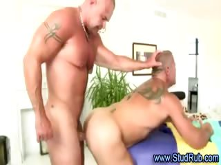 Older gay masseur assfucks hunky str8 chap
