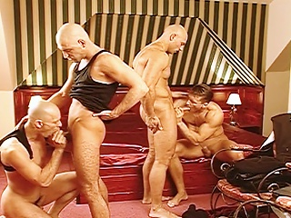 Cocks fuck eachother from behind after ransacking a business mans...
