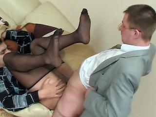Sex-addicted co-workers in slight sheen tights having cock-break in...