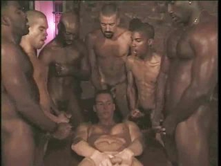 Homo interracial group sex with white stud taking dong