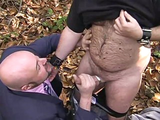 Exhibear and xmanbear in woods enjoying wicked strapon engulfing act