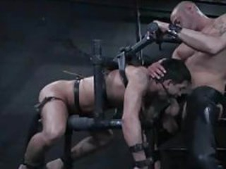 Homo dude in bondage is face screwed