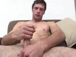 Hawt young fellow masturbates and cums