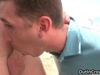 Blond hunk gets rod sucked outdoor