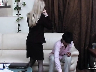 Golden-haired sissy secretary in a hot dress plays numbers game in advance of gay bumming