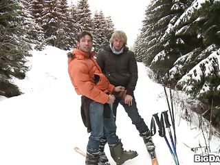 Here's Marek and Martty, a precious gay couple that is on a vacation. Those sexy dudes love sport and skiing is their second not quite all favourite sport! What's the first? Well is having some love to each other, that's why the golden-haired honey Martty goes down and obscene and gives his fellow a slutty engulf right there on that mountain