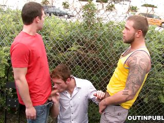 here is one sexually excited pecker sucker looking for dicks. And this one is not satisfied with one. This chab convinces these 2 cocks to let him engulf their pecker to receive a heavenly feeling. And out of there in a public area, these men pulled down pants and receive their big pecker sucked by this dude. In a short time this sucker receive is taut gazoo jammed by one as well as the other of them!