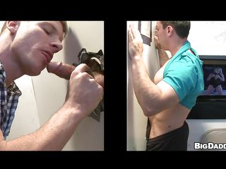 Horny, straight ramrod enters XXX movie booth and finds a gloryhole. Taking out his big, hard shlong and poking it throughout the hole, a blonde man begins engulfing and makes the ramrod moan. After getting naked, the ramrod does the homosexual man up his tight, hard ass, pumping harder and faster the louder they moan. How long will it take to make 'em explode?