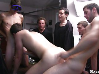 3 fellows are having swimming glasses put on, then one of 'em is being put on a table, and starts to engulf some other guy's dick. A stud places his weenie inside of him, and bonks him whilst continuing to suck. The one that blows the cock, is changing his position and acquires humped from behind.