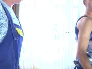 Smartened up crossdresser tempts a hung handyman into having freaky homosexual sex