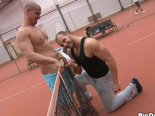 They play a game of tennis and after that this chab just sucks his cock!