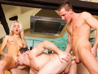 Hawt golden-haired Victoria wants her boyfriend to try out dongs!