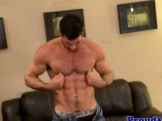 Aged Billy Santoro tugs with toy in his ass