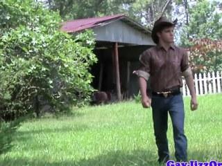 Ejaculation loving cowboy outdoors riding wang