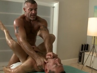 Twink is giving a delightful irrumation sex for cute homosexual masseur