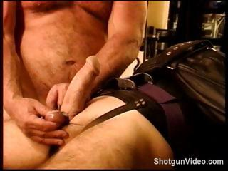Thrall gets some naughty torture from his slavemaster on his 10-Pounder and balls