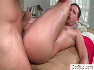 Guy getting rimmed during massage