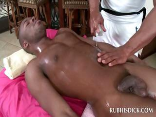 Dark gay guy acquires rod massaged