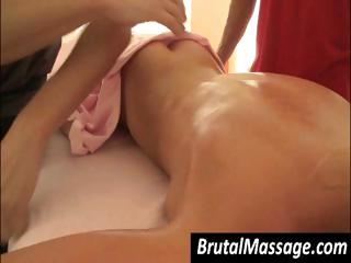 Sexy golden-haired honey is getting a fine oiled up full body massage