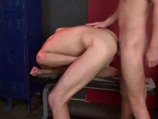 2 homo males have some sexy hard butt fucking going in the locker room