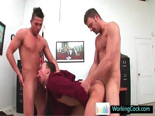 Incredible homosexual 3 some at the office by workingcock