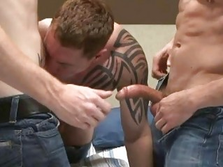 3 muscled tattooed homosexual boyfrends having hawt three-some in hotel room