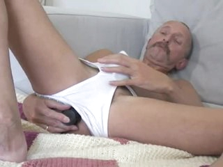 Fake penis Daddy Jerking Off