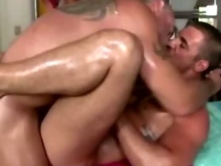 Straight stud a-hole fucked by homosexual bear masseuse