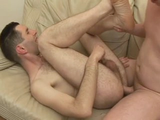 Hairy guy laid in his taut butthole