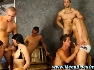 Naughty bi-sexual group orgy