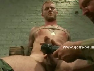 Pliant homosexual stud receives tortured and teased by a stud that forces him to engulf his dong
