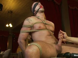 This fellow is bound constricted on that chair, blindfolded and ball gagged so this fellow won't scream or watch what happens to him. While his pecker is bound real hard too, a marital-device penetrates his dark hole and then his 10-Pounder is released from the ropes so it could be rubbed. This fellow enjoys the intensive cook jerking and moans with enjoyment
