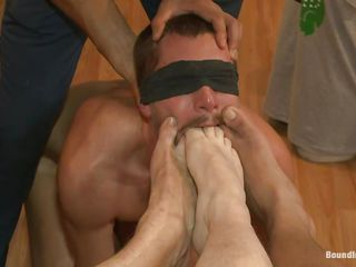 This chab is in a clothes store but these fellows are playing with his bare ass. They gang gangbang him hard and abase him by fucking his arse and face hole with their feet in advance of using their dicks. A shaved guy inserts his jock in his anal opening during the time that this chab lays on the floor and one greater quantity guy gives him a handjob. Will they all cum on his body, covering it in hawt jizz?