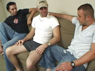Here we have a very interesting homo three-some that's taking place on a couch. After a short talk the chaps begin acting hot and lewd and the one with the white t-shirt is receiving a orall-service whilst the bigger greater quantity muscled male stuffs his face hole with his dick. Wonder who will cum First and in what mouth?