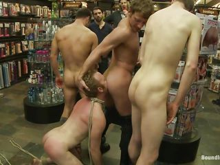 Perhaps this is not what this dude had in his mind when entered that store. Who cares, his a-hole now belong to those bad lads and they are going to show him that this dude is just a homo slut that has to satisfy every and every command. After humiliating him and flogging his a-hole until it turns red this dude gives rimjobs during the time that staying on his knees.